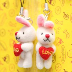 Mini WHITE Bunny Rabbit with Heart 4cm Charm 2pcs by blingers