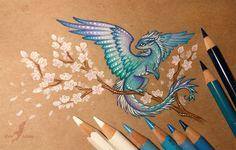 art, dragon, and sakura image
