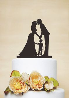 Wedding Cake TopperCouple Silhouette with a by AcrylicDesignForYou