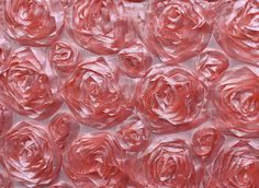 Peach Satin 3D Roses Rosette Fabric Sold By The Yard by smallsproutsbaby on Etsy
