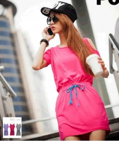 Casual Stylish Dress Rose Red