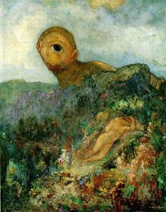 Odilon Redon painted what was in his heart and his head more than allowing his perceptions and observations to rule. The Cyclops by Odilon Redon, c. 1914, oil on canvas, 64 x 51 cm.