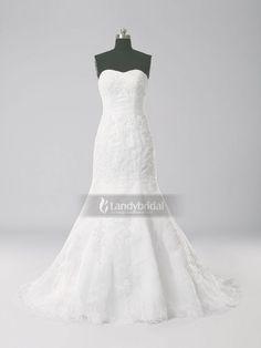 9e8b3e16e537e ランディブライダル ウェディングドレス マーメイド ハートネック ホワイト ブラシトレーン オーガンジー 結婚式 レース H5lblb0835g2