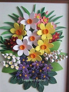 Quilled daffodils and other flowers