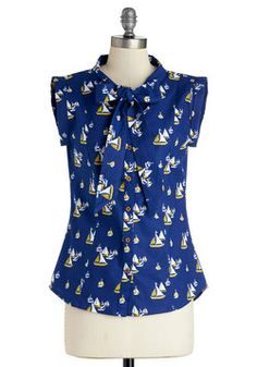 Carry On With Confidence Top in Sailboats, Mata Traders, ModCloth