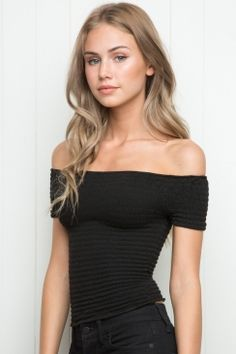 30af3fc2be3b5e Brandy Melville Charlene top Mega stretch cotton off-the-shoulder fit top  in black with an allover elastic smoking details for a stay-put fit.