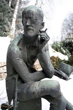 Grave marker for James Joyce, Fluntern Cemetery, Zurich, Switzerland Cemetery Monuments, Cemetery Statues, Cemetery Headstones, Old Cemeteries, Cemetery Art, Graveyards, James Joyce, Famous Graves, Grave Memorials