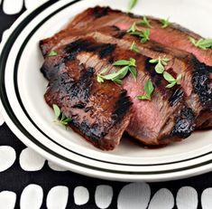 Ponzu sauce grilled flank steak