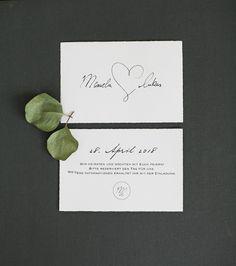 Vorder- und Rückseite Save the Date Karte auf Büttenpapier A6. Von Anmut und Sinn