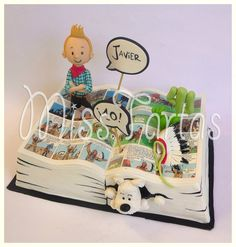 Tintin and Snowy cake! Amazing Wedding Cakes, Amazing Cakes, Fondant Cakes, Cupcake Cakes, Open Book Cakes, Bolo Snoopy, Fantasy Cake, Funny Cake, Character Cakes