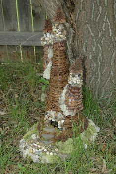 Fairy House made from a tiny grapevine tree