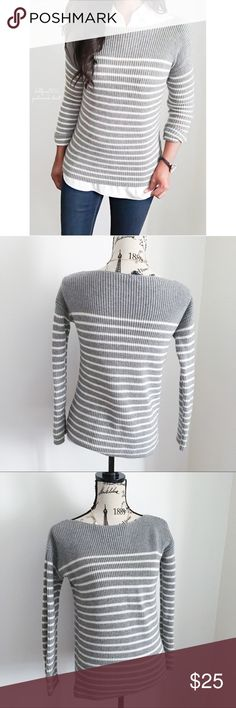 "Gap Grey + White Stripe Boat Neck Sweater ✦   ✦{I am not a professional photographer, actual color of item may vary ➾slightly from pics}  ❥chest:18"" ❥waist:17"" ❥length:23"" ❥sleeves:24""(collar-cuff) ➳material/care:material tag cut  ➳fit:has stretch could prob work as a sml  ➳condition:gently used/newer   ✦20% off bundles of 3/more items ✦No Trades  ✦NO HOLDS ✦No transactions outside Poshmark  ✦No lowball offers/sales are final GAP Sweaters Crew & Scoop Necks"