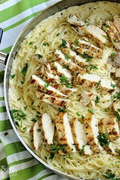 "Basil Pesto Chicken Alfredo - An easy, delicious, and quick 30 minute chicken dinner recipe! My kids love ""white noodles,"" and this Basil Pesto Chicken Alfredo is no exception. They can be picky at times, Best Pasta Recipes, Easy Chicken Recipes, Easy Dinner Recipes, Healthy Recipes, Top Recipes, Shrimp Recipes, Healthy Meals, Healthy Eating, Pasta Alfredo"