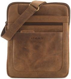 LEABAGS Detroit shoulder bag crossbody bag 10 inch tablet bag leather bag in vintage style - Brown Leather Briefcase, Leather Crossbody Bag, Leather Purses, Leather Handbags, Leather Wallet, My Bags, Purses And Bags, Leather Bag Pattern, Leather Bags Handmade