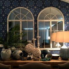 Dining room. Sideboard, layering with Cole&Son  Wallpaper.