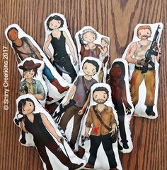 Set of 9- The Walking Dead inspired cartoon, cuddly, fabric, dolls, plushie, plush, collectible, TV show, comic book, characters - £71.00