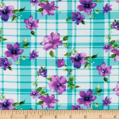 Rayon Challis Floral Plaid Light Blue/Purple