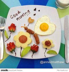 Mother creates works of art on children's breakfast plate Breakfast Plate, Breakfast For Kids, Breakfast Dishes, Cute Food, Good Food, Food Art For Kids, Food Decoration, Food Crafts, Food Humor
