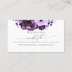 LOVELYWOW studio: products on Zazzle Dark Purple Flowers, Purple Peonies, Purple Wedding Flowers, Purple Orchids, Elegant Business Cards, Custom Business Cards, Lilac Bouquet, Watercolor Business Cards, Silver Wedding Invitations