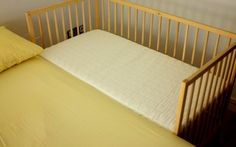 We're attempting this for our baby boy. Finished product Co Sleeper, Idea, Diy Cosleeper Crib, Ikea Hacks, Diy Baby Cosleeper, Cosleeper Diy, Baby Stuff