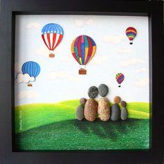 Pebble Art Family- Unique Family Gift- Custom Family Art- Family of Five Gift…