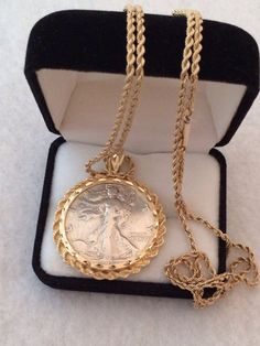 """14k Fine Gold Diamond Cut Bezel Coin Holder Pendant & 28"""" Fine Gold Rope Chain with Silver 1947 Half Dollar Coin Heavy Necklace"""