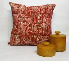 Hand Printed Wood Grain Pillow  Rust Wood by ecarlateboutique