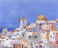 Santorini, Greece Print of Original Watercolor Painting by EdieFaganArt on Etsy