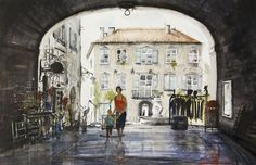 Mairie, Barjac, France, watercolor by Emmanuele Cammarano
