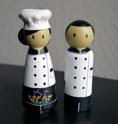 Wooden Peg Doll Figurine Couple with 3D Accessory and logos - Profession Company Business Restaurant Chef Cook - Custom made & Personalized. $65.00, via Etsy.