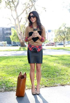 Love this look. Got a leather skirt like this to pair with plaid and sweater
