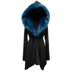 Sanctus 'Asylum Coat - Prussian Blue' - Vegan suede, leather and faux fur draped jacket with oversized hood. on Etsy, $296.80