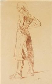 Pietro Annigoni, Drawing of a peasant woman