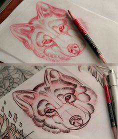 Neo traditional wolf tattoo sketch