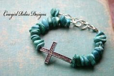 Western Turquoise and Rhinestone Cross Bracelet Cowgirl Bling. $15.00, via Etsy.