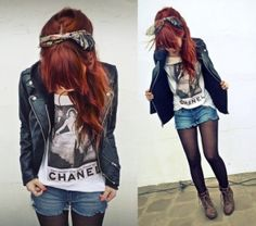 Army boots love, Vintage hair tie love,  Black leather jacket love, long red hair love, chanel shirt love