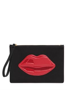 LULU GUINNESS - SMALL LIPS POUCH - BLACK/RED