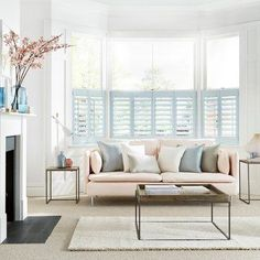 View our exclusive shutters with 10 charming pastel shades & designed in collaboration with House Beautiful. Duck Egg Living Room, Cream Living Rooms, My Living Room, Home And Living, Living Room Decor, Living Spaces, Blush Pink Living Room, Pastel Living Room, Window Shutters Uk