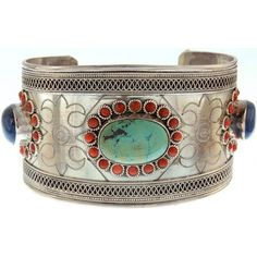 Turquoise Cuff Bracelet with Coral, Lapis Lazuli and Filigree ($275) ❤ liked on Polyvore featuring jewelry, bracelets, turquoise jewelry, lapis lazuli jewelry, cuff bracelet, filigree cuff bracelet and green turquoise jewelry