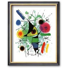 Art.com The Singing Fish Framed Art Print by Joan Miró ($42) ❤ liked on Polyvore featuring home, home decor, wall art, coventry black thin, fish paintings, wooden fish wall art, black framed wall art, abstract fish painting and black paintings