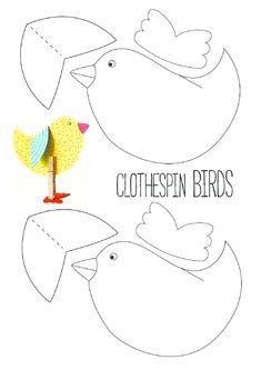 printables for kids Birds For Kids, Diy For Kids, Crafts For Kids, Bird Crafts, Easter Crafts, Classroom Art Projects, Bird Patterns, Art Activities, Children Activities
