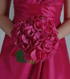 Hot pink hydrangea bridesmaid bouquet
