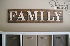 Tutorial for making this FAMILY sign. Looks really easy and I love the nuts and bolts on it! [This would look great in our dining room]  Also- You could choose a different word- LOVE or HOPE or SIMPLE