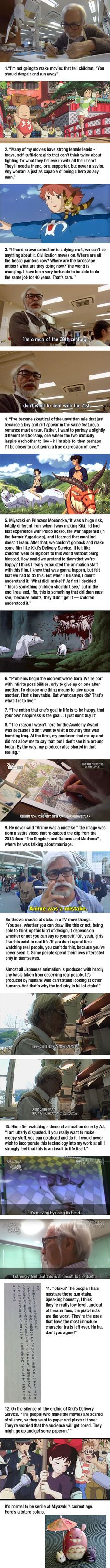 "controversial quotes by Hayao Miyazaki. No, he never said ""anime was a mistake"" 12 controversial quotes by Hayao Miyazaki. No, he never said ""anime was a controversial quotes by Hayao Miyazaki. No, he never said ""anime was a mistake"" Hayao Miyazaki, Totoro, Studio Ghibli Art, Studio Ghibli Movies, Studio Ghibli Quotes, Tokyo Ghoul, Mega Anime, Anime Was A Mistake, Castle In The Sky"