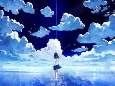 Anime picture with original bob (biyonbiyon) long hair single black hair sky cloud (clouds) barefoot wallpaper bare legs from behind reflection scenic horizon girl skirt uniform school uniform miniskirt shirt Anime Sky, Art Anime, Anime Kunst, Anime Artwork, Manga Art, Style Anime, Wallpapers Wallpapers, Hd Wallpaper, Sky Images