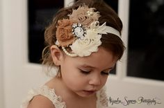 Ivory/Caramel/stone  Vintage Headband/Child by Daniellasjewels, $12.95
