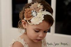Ivory/Caramel/stone  Vintage Headband/Child Headband /baby Girl Headband /Photo prop Headband. $12.95, via Etsy.