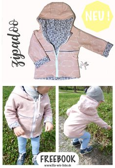 "Free pattern and instructions: Freebook! for children size Adventure jacket with pockets for all kinds of treasures! Simply sew for pictures. Sewing children's jacket - Zip Up Hoodie ""Zipadoo"" - FREEBOOK - Purple like love Nicole Bertram Sewing Patterns For Kids, Sewing Projects For Kids, Baby Knitting Patterns, Sewing For Kids, Baby Sewing, Free Sewing, Sewing Kids Clothes, Diy Clothes, Hoodies For Teens"