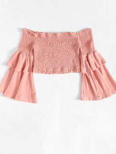 Tiered Ruffle Shirred Off Shoulder BlouseFor Women-romwe Korean Outfits, Trendy Outfits, Kids Outfits, Cool Outfits, Summer Outfits, Fashion Outfits, Outfit Goals, My Outfit, Off Shoulder Diy
