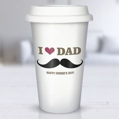 Moustache Dad Personalised Ceramic Travel Mug Fathers Day Crafts, Happy Fathers Day, Best Friend Christmas Gifts, Personalized Christmas Gifts, Thank You Gifts, Dads, Ceramics, Drinkware, Kitchen Dining